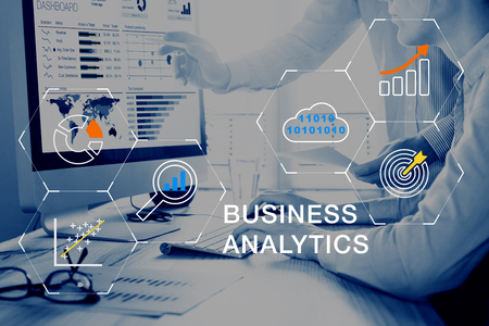 Photo pour Business Analytics (BA) technology using big data, cloud computing and statistical model prediction to provide insights for financial and marketing strategy decisions - image libre de droit