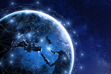 Foto de Global communication network around planet Earth in space, worldwide exchange of information by internet and connected satellites for finance, cryptocurrency or IoT technology - Imagen libre de derechos