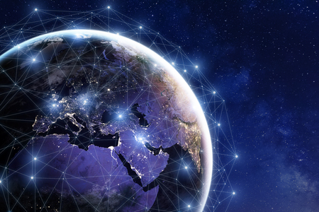 Photo pour Communication network around Earth used for worldwide international connections for finance, banking, internet, IoT and cryptocurrencies, fintech concept, composition with planet - image libre de droit