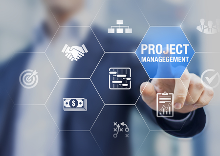Foto de Professional project manager with icons about planning tasks and milestones on schedule, cost management, monitoring of progress, resource, risk, deliverables and contract, business concept - Imagen libre de derechos