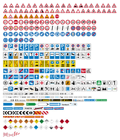 Illustration pour Highly detailed vector-Traffic Road Sign Collection - image libre de droit