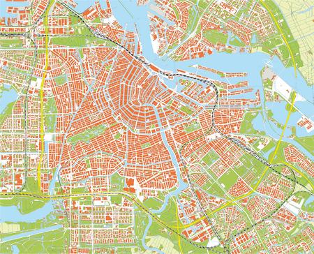 Illustration pour amsterdam city map - image libre de droit