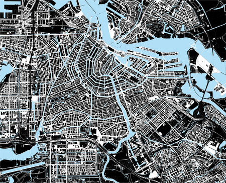 Illustration pour black and white amsterdam city map - image libre de droit
