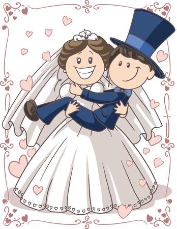Foto de Wedding Invitation Couple - Vector cartoon of bride and groom in a funny pose   - Imagen libre de derechos