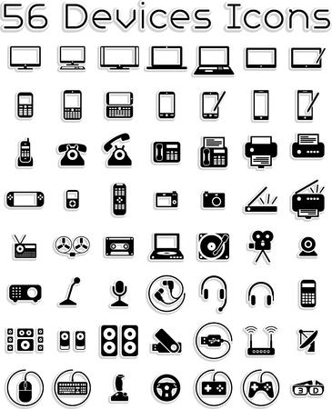 Illustration pour Electronic Devices - Vector Icons Set  - image libre de droit