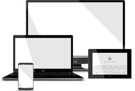 Illustration pour Screens Collection - Smart Phone, Laptop, Tablet, PC Monitor  - image libre de droit