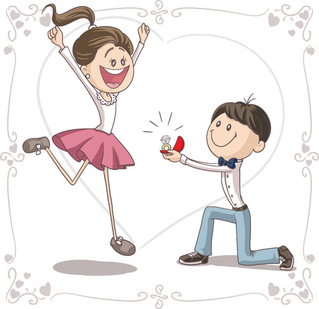 Illustration for Marriage Proposal Vector Cartoon  - Royalty Free Image