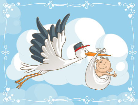 Photo pour Stork with Baby Vector Cartoon  - image libre de droit