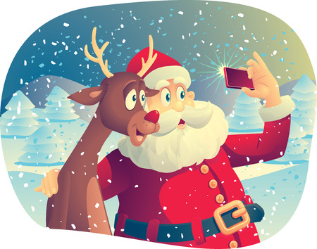 Illustration for Vector cartoon of Santa Claus and his best friend taking a Christmas picture together. - Royalty Free Image