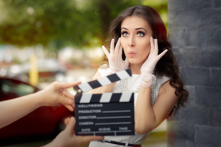 Photo for Surprised Actress Shooting Movie Scene - Royalty Free Image