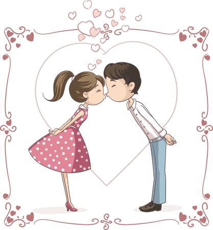 Photo pour Couple Kissing Vector Cartoon - image libre de droit