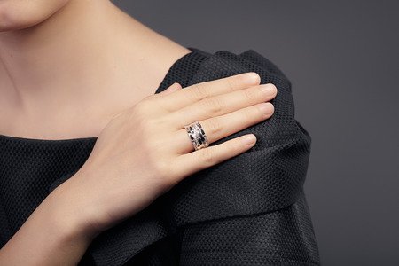 Photo for Close up Detail of a Ring on a Female Hand Model - Royalty Free Image