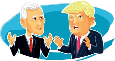 Foto de Mike Pence and Donald Trump Vector Editorial Caricature - Imagen libre de derechos