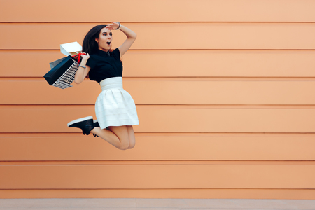 Foto für Surprised Woman Running With Shopping Bags in Summer Sale Season - Lizenzfreies Bild