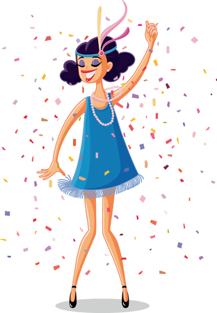 Illustration for Flapper Party Girl from the Roaring 20s Retro Vector - Royalty Free Image