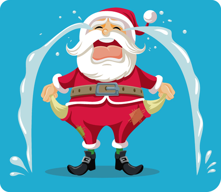 Illustrazione per Sad Crying Santa With Empty Pockets Vector Cartoon - Immagini Royalty Free