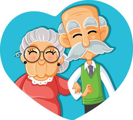 Illustration for Senior Couple in Love Vector Cartoon Illustration - Royalty Free Image