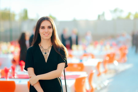 Photo for Event Planner PR Specialist Woman Organizing Outdoor Party - Royalty Free Image