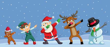 Illustration pour Dabbing Christmas Cartoon Characters Funny Banner - image libre de droit