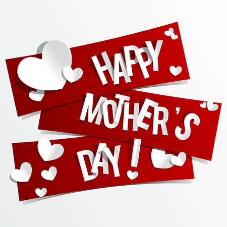 Illustration pour Creative Happy Mother s Day Card with Hearts On Ribbons vector illustration - image libre de droit