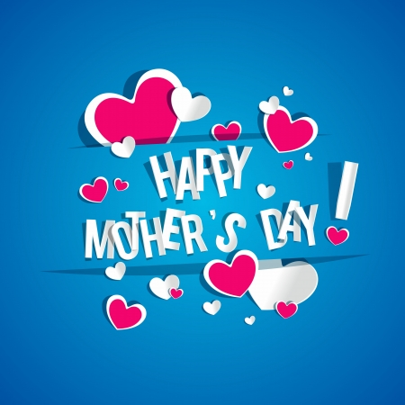 Illustration pour Creative Happy Mother's Day Card with Hearts vector illustration - image libre de droit