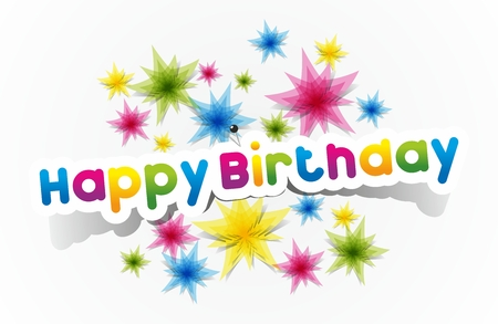 Colorful Happy Birthday Greeting Cards Vector Illustration