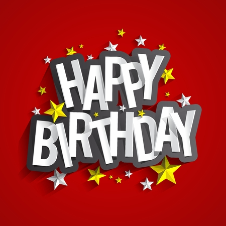 Ilustración de Colorful Happy Birthday Greeting Card Vector Illustration - Imagen libre de derechos