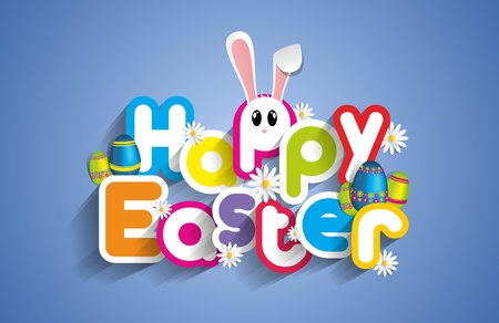 Illustration pour Happy Easter Greeting Card with Cartoon Rabbit And Eggs vector illustration - image libre de droit