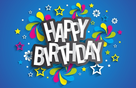 Ilustración de Happy Birthday Greeting Card On Background vector illustration - Imagen libre de derechos