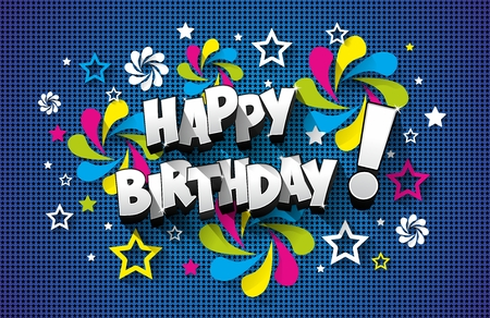 Illustrazione per Happy Birthday Greeting Card On Background vector illustration - Immagini Royalty Free