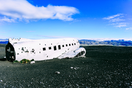 Photo for View of a plane wreck near Vik in south Iceland. - Royalty Free Image
