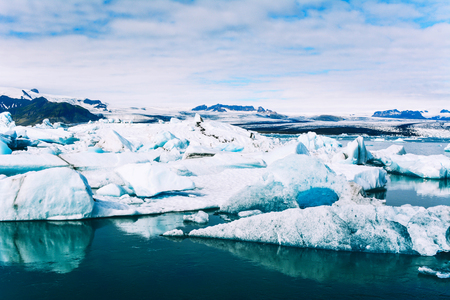 Photo for Amazing view of icebergs in glacier lagoon, Jokulsarlon, Iceland. Global warming and climate change concept. - Royalty Free Image