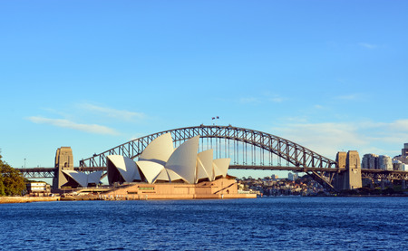 Sydney, Australia - July 17, 2014: Sydney Opera House  Bridge from Macquarie's Point on a beautiful winter's morning.