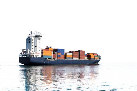 Foto de Photo of a container ship isolated on white background. - Imagen libre de derechos
