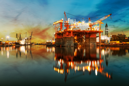 Photo for Ship under construction in shipyard at sunrise. - Royalty Free Image