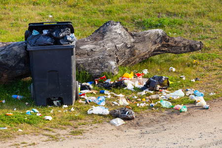 Photo for Garbage waste in park full of all sort of trash. - Royalty Free Image