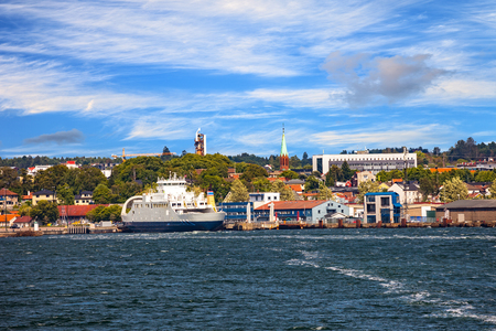 Foto per View from ship on port Moss in Norway. - Immagine Royalty Free