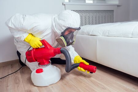 Photo pour pest control worker lying on floor and spraying pesticides in bedroom - image libre de droit