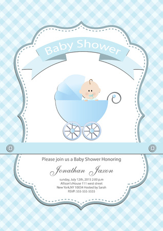 Photo for Baby boy baby shower invitation card - Royalty Free Image