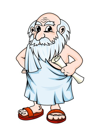 Illustration for Ancient greek philosopher in cartoon style. Vector illustration - Royalty Free Image
