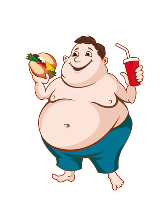 Illustrazione per Fat man with fast food isolated on white background - Immagini Royalty Free
