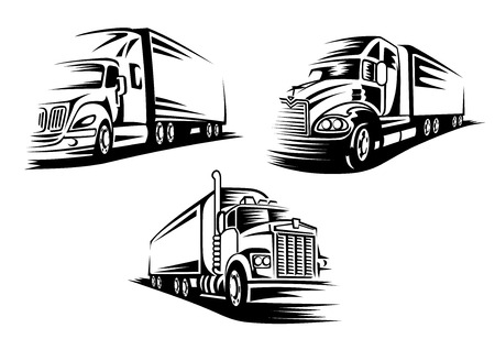 Photo pour Commercial delivery cargo trucks silhouettes isolated on white background suitable for   or emblem template - image libre de droit