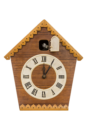 Foto de Old cuckoo clock isolated over white background - Imagen libre de derechos