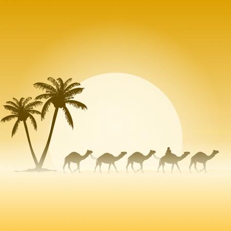 Illustration pour Camels and Palms - image libre de droit