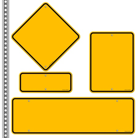 Illustration pour Yellow Roadsigns Set - image libre de droit