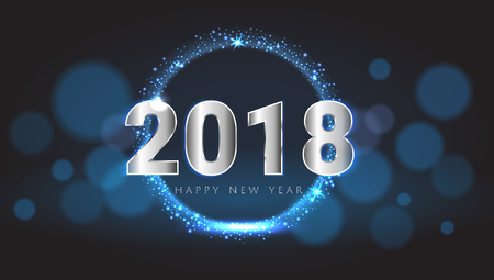 Happy New 2018 Year shiny glowing blue and silver greeting card. Vector illustration. Wallpaper.