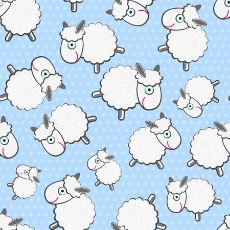 Illustration for Cute White Sheeps Seamless Pattern on Light Blue Background - Royalty Free Image