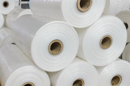 Photo pour Warehouse with rolls of polyethylene - image libre de droit