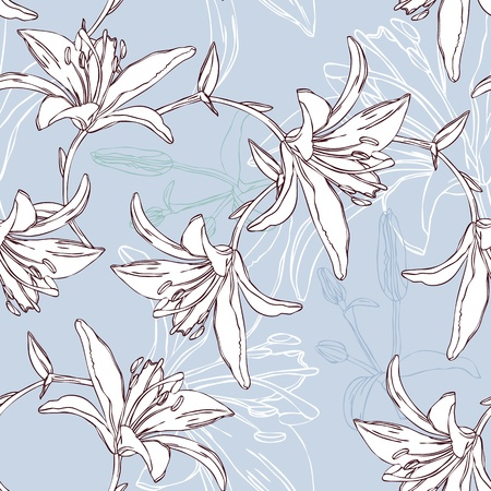 floral seamless pattern with lily mural