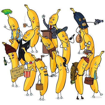 Illustration pour Vector Set of Different Banana Characters. Banana Crowd. - image libre de droit